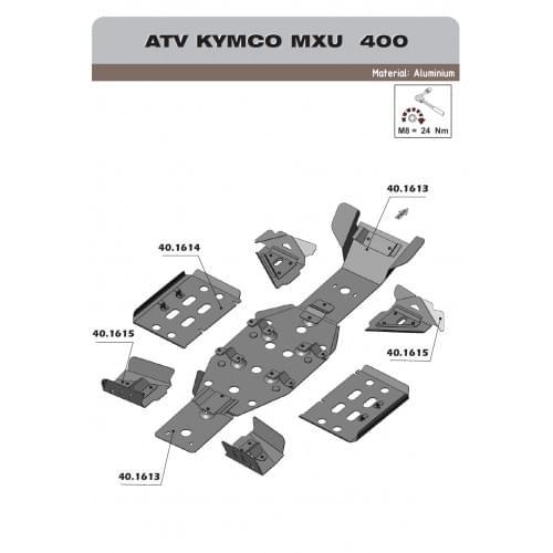 Комплект защиты днища для Kymco MXU 400